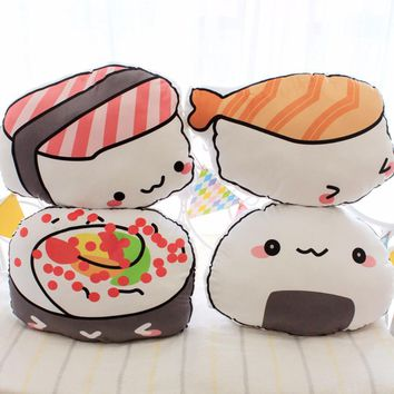 1pc 45cm*40cm Kawaii Salmon Sushi Pillow Stuffed Plush rice and vegetable roll Pillow Cushion Toys Creative Gifts Kids Gifts