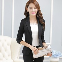 2018 New elegant long-sleeve casual blazers spring autumn plus size all-match formal slim jacket office fashion work wear