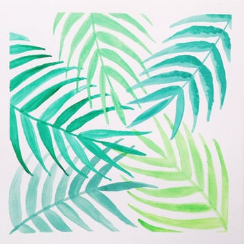 Palm tree summer print / green leafy watercolor / tropical palm pattern