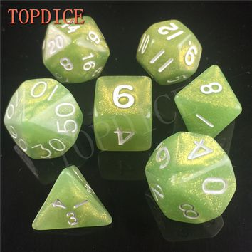 [TOPDICE] High quality Multi-Sided RPG DICE SET Dice with pearl color d4 d6 d8 d10 d10 d12 d20 7pcs set d&d