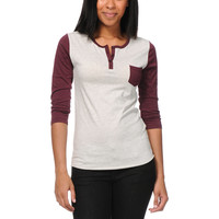 Zine Girls Blackberry & Oatmeal Henley Baseball Tee Shirt  at Zumiez : PDP