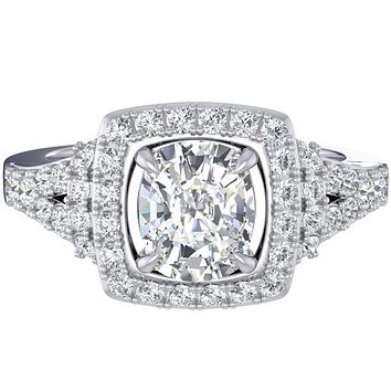 Fana Cushion Shaped Halo Split Shank Diamond Engagement Ring