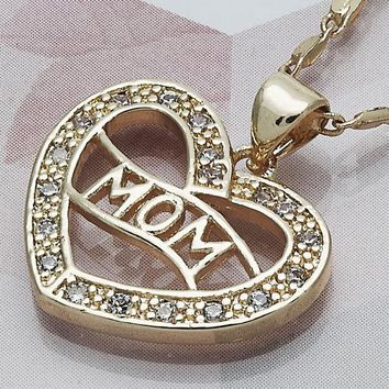 Gold Layered Women Mom Fancy Necklace, with White Micro Pave, by Folks Jewelry