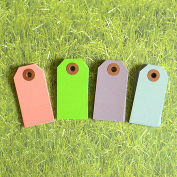 "Spring Mix Parcel Tags, 2 3/4"" x 1-3/8"", set Of 24 Pastel Spring Colors Hang Tags, Kraft Reinforced Holes, Shipping Tag, No. 1,"