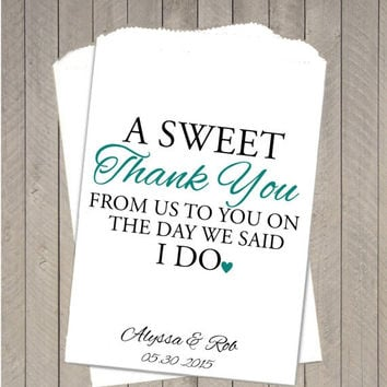 10% OFF Sweet Thank You The Day We Say I Do Wedding Favor Bags ~ Wedding Candy Buffet Bags, Candy Bags, Treat Bags, Candy Bar Buffet Bag, Pa
