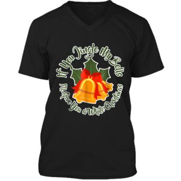 Mens Jingle My Bells Funny Adult Christmas Ugly Gift Mens Printed V-Neck T