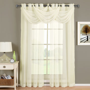 Abri Ivory Grommet Crushed Sheer Curtain Panel
