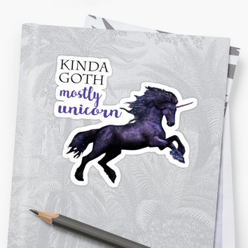 'kinda goth, mostly unicorn' Sticker by jackiekeating