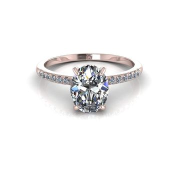 14K Rose Gold Oval Moissanite Diamond Engagement Ring
