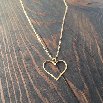 Open Heart Pendant Necklace in Gold with Delicate Chain
