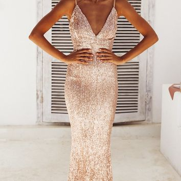 Fire and Ice Champagne Sequin Sleeveless Spaghetti Strap Plunge V Neck Backless Maxi Dress Champagne