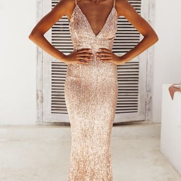 Fire and Ice Red Sequin Sleeveless Spaghetti Strap Plunge V Neck Backless Maxi Dress Champagne