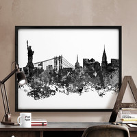 New York city skyline, New York print poster, New York cityscape, Art, black & white, Wall art, Artwork, New York, Home Decor, iPrintPoster.