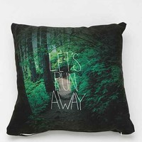 Leah Flores For DENY Let's Run Away Pillow- Green One