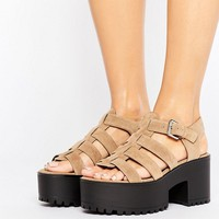 Pull&Bear Cage Wedge Sandals at asos.com