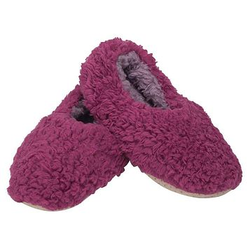 Plush Lined Non-Slip Indoor Soft Slippers in Purple