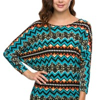Superline Clothing Brand Turquoise, Orange, and Black Pattern Tunic Top