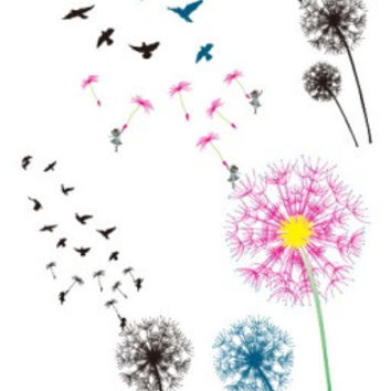 RC2252 Waterproof Tattoo Sticker Colored Dandelion Birds Flying Temporary Tattoo Foil Decal Body Art Fake Tattoo Sticker