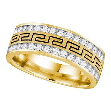 14kt Yellow Gold Men's Round Diamond Grecco Double Row Wedding Band Ring 3/4 Cttw - FREE Shipping (US/CAN)