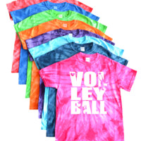 Volleyball Tie Dye T-Shirt - Stacked Volleyball Logo
