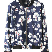 Floral Print Long Sleeve Zipped Varsity Jacket