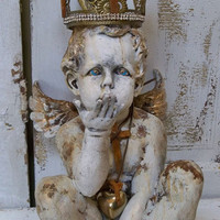 Angel cherub statue adorned hand made crown jewelry French Santos inspired ooak home decor Anita Spero