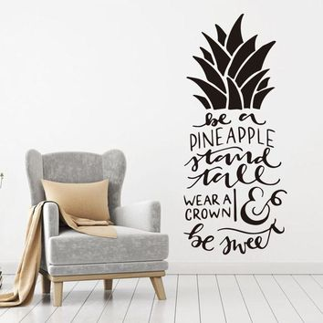 Art Design Home Decoration Pineapple text Wall Sticker Removable House Decor Creative Beautiful Decals