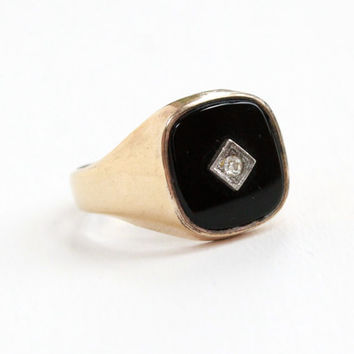 Vintage 10k Rosy Yellow Gold Filled Onyx Rhinestone Ring - 1940s 1950s Size 12 Hallmarked Clark & Coombs Two Tone Clear Stone Mens Jewelry