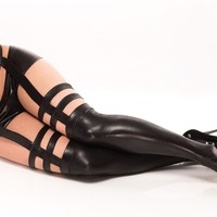 BLACK WETLOOK STOCKINGS WITH ATTACHED GARTER