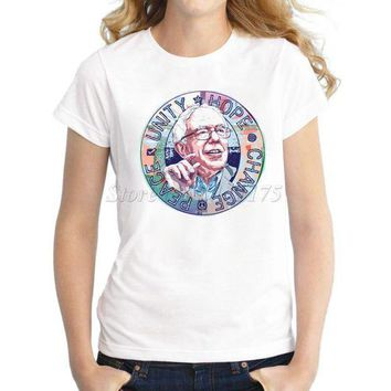 PEAPGE2 Beauty Ticks Women Novelty Design T Shirt Bernie Sanders Unity Hope Peace Change Printed Tee Shirts