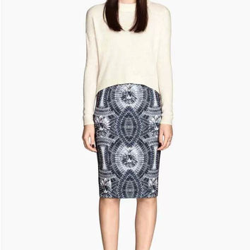 Diamond Print pencil Skirt