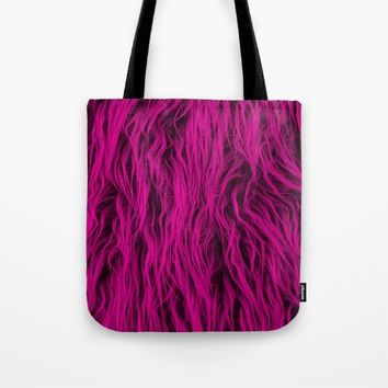 Magenta Wooly Carpet Tote Bag by Azima