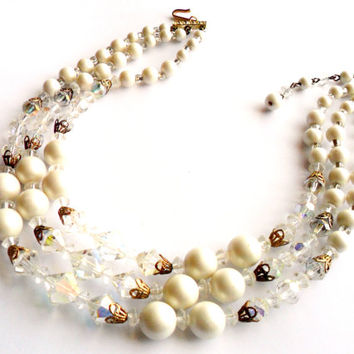 Vintage Beaded Choker Necklace Bib White Faux Pearl Aurora Borealis Crystal Glass Three Strand Bridal Bride Wedding Sparkle Rhinestone