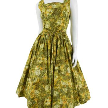 1950s Jerry Gilden Green Floral Tea Length Swing Dress-XL