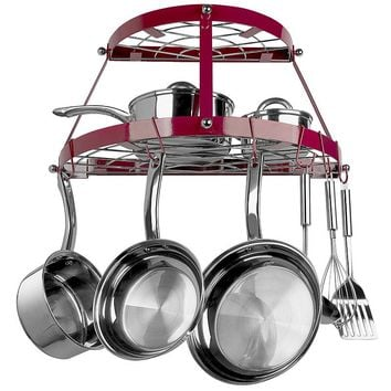 Range Kleen 2-Shelf Wrought Iron Pot Rack (Red)