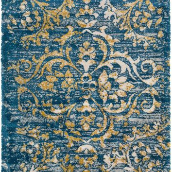 Surya Vintage Shag Medallions and Damask Blue VTS-4101 Area Rug