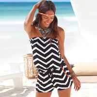 Print Summer With Pocket Strapless Jumpsuit [10577408140]