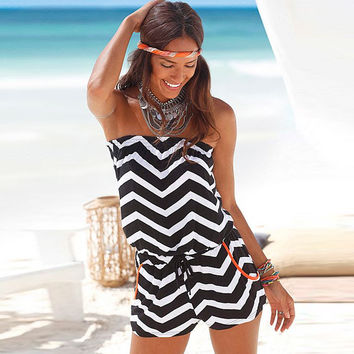 Chevron Patter Strapless Drawstring Waist Rompers