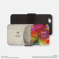 Left and right brain iPhone Samsung Galaxy leather wallet case cover 059