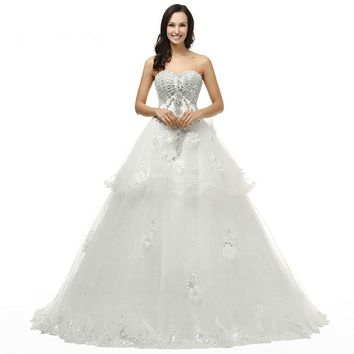 Romantic Tulle A Line Sweetheart Neck Flowers Bow Lace Up Wedding Dresses Floor Length Wedding Dress