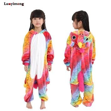 Boy Girl Pajamas Unicorn Sleepwear Children Pijama Flannel Kids Pyjama Cartoon Animal Unisex Onesuits Kigurumi One Piece Homewear