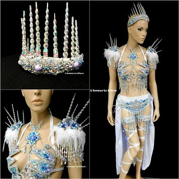 Frozen Ice Queen Elsa Icicle Crown Samba Cage Bra top LED Skirt and Thigh Garters