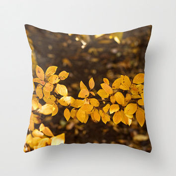 Bronze Pillow Cover Photography Print Polyester Topaz Autumn Leaves Fall Red Home Decor Accent Cushion Covers