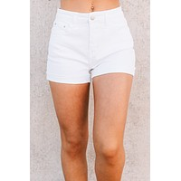 Let's Have Some Fun Cuffed High Rise Shorts (White)