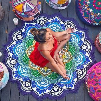 Drop Shipping Tassel Indian Mandala Tapestry Totem Lotus Printing Beach Towels Mat Sun block Round Bikini Cover-Up Beach Towel