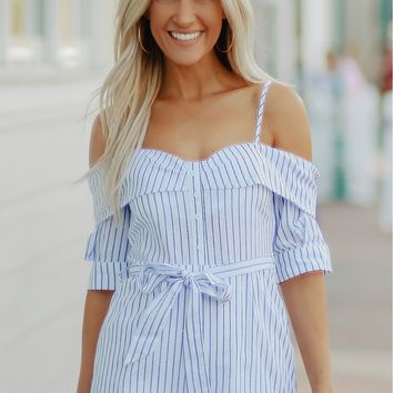 Button Up Off The Shoulder Romper White/ Blue