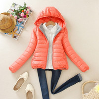 8 Colors 2015 Women Winter Causal Parka Jacket Ladies Slim Short Padded Coat Candy Color Hoodies Outwear = 1932564420