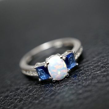 Fire Opal Ring - Full Sterling Silver Cz Ring, Sapphire Ring, Engagement Ring, Wedding Ring