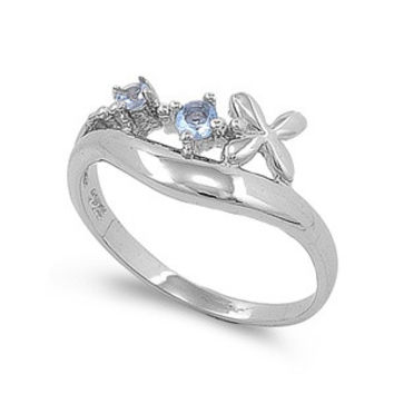 925 Sterling Silver CZ Cross Simulated Aquamarine Ring 2MM