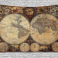 Vintage 1720 World Atlas Map Fabric Wall Tapestry